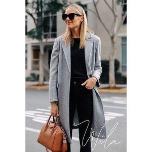 Gray notched lapel coat long 846680